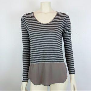 Zara Striped Tan Flutter Long Sleeve Top Size M